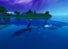 Fortnite: Como usar uma Vara de Pesca para esquiar atrás de um Tubarão de Saque