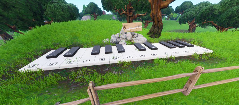Localização da Partitura e do Piano perto do Parque Agradável e da Cabana Solitária no Fortnite