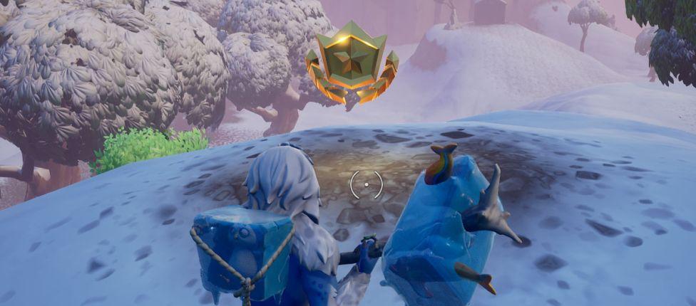 Como completar o desafio: Vasculhe entre uma Escotilha Misteriosa, uma Gigante de Pedra e uma Carroceria Precária no Fortnite