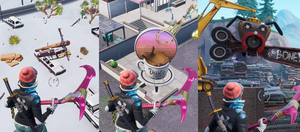 Como completar o desafio: Dance em um Relógio do Sol, em uma Xícara de Café Gigante e em uma Cabeça de Cachorro de Metal Gigante no Fortnite