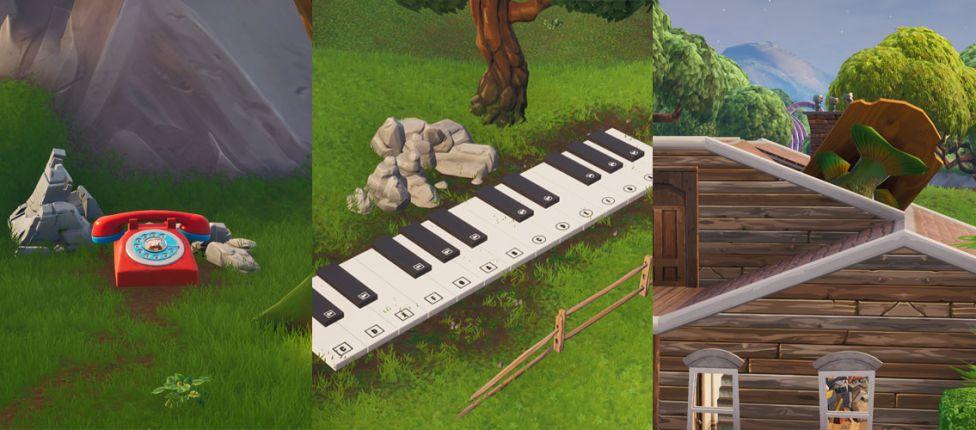 Localização do Telefone descomunal, do Piano enorme e do troféu de Peixe Dançante gigante no Fortnite