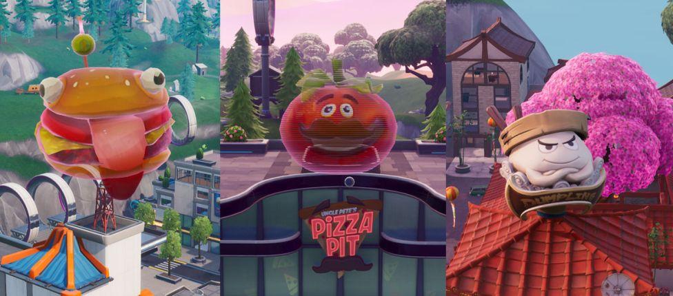 Localização da cabeça de Tomate gigante holográfica, da cabeça de Durrr Burger holográfica e da cabeça de Dumpling gigante no Fortnite