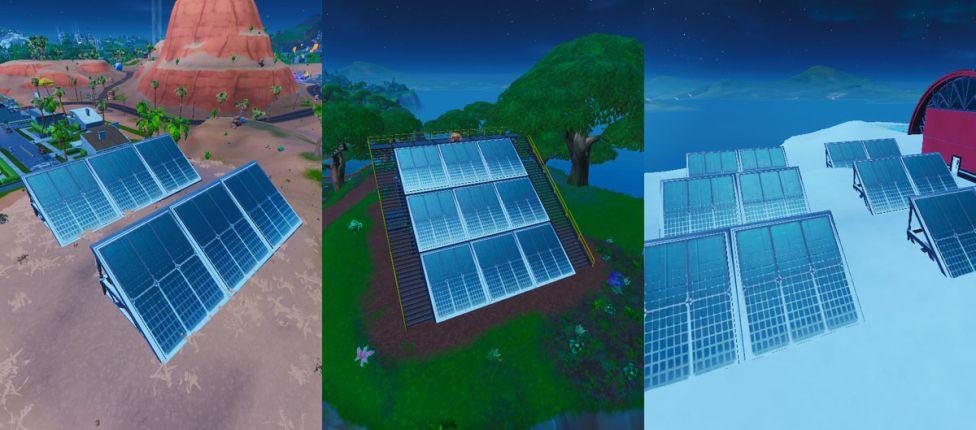 Localização do Conjunto de Painéis Solares na neve, no deserto e na selva no Fortnite