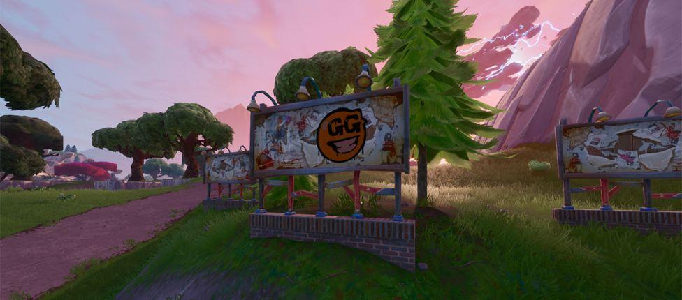 Localização dos cartazes grafitados no Fortnite