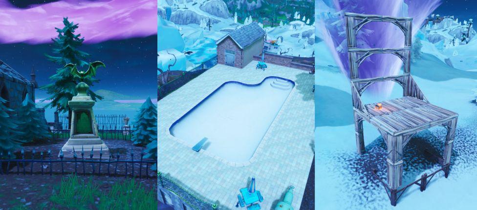 Localização da estátua de morcego, da piscina muito acima do solo e do assento para gigantes no Fortnite