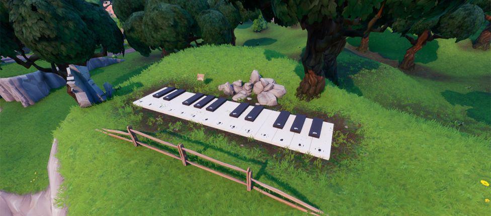 Localização do piano gigante no Fortnite