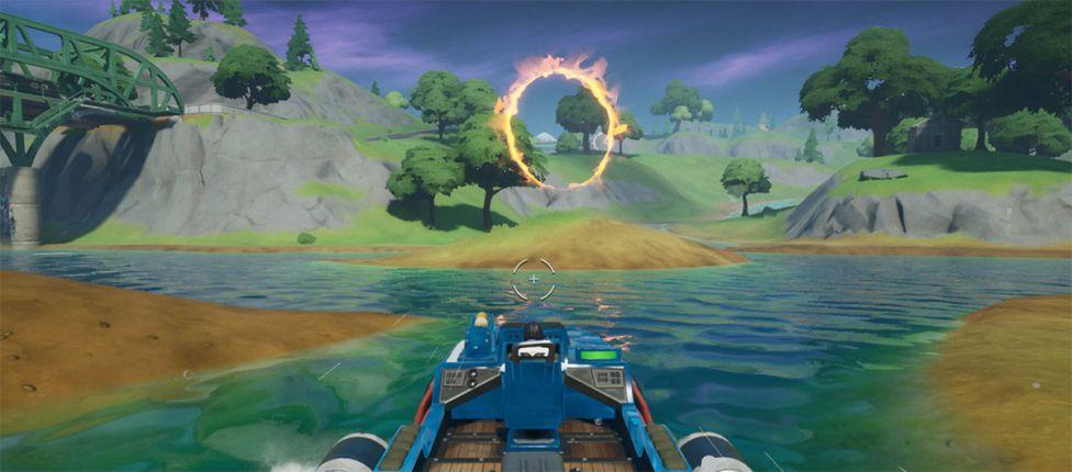 Localização dos anéis de fogo para saltar com uma lancha no Fortnite