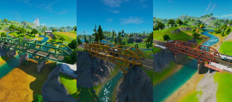 Localização da Ponte de Aço Verde, da Ponte de Aço Amarela e da Ponte de Aço Vermelha no Fortnite