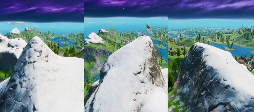 Localização do Monte H7, do Monte F8 e do Monte K no Fortnite