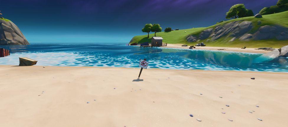 Localização das placas de proibido nadar no Fortnite