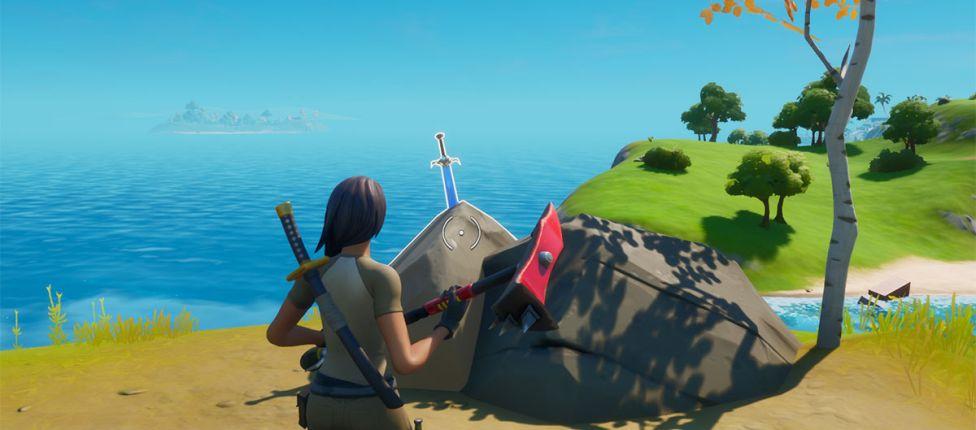 Localização das espadas da Skye em pedras em locais altos no Fortnite