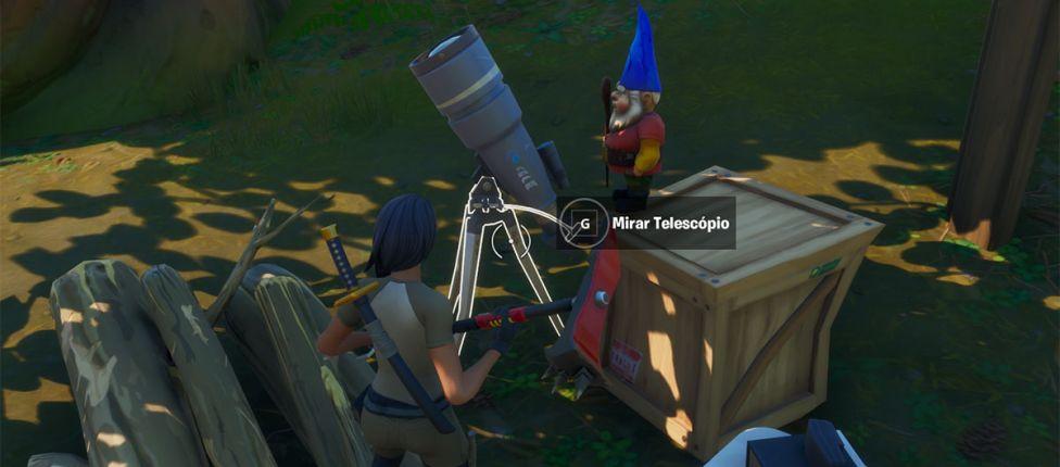 Desafio secreto do Fortnite: Localização dos gnomos com telescópio