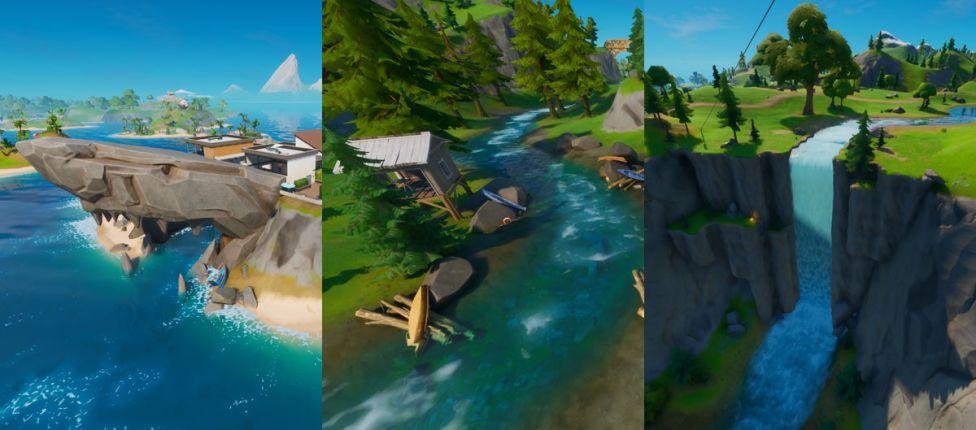 Localização do Tubarão, da Casa da Corredeira e do Desfiladeiro Deslumbrante no Fortnite