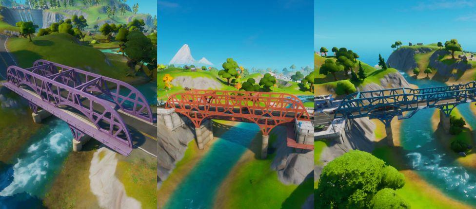 Fortnite: Use um Choppa para voar por debaixo das pontes de aço roxa, vermelha e azul