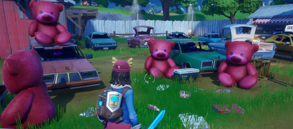 Localização do urso de pelúcia rosa gigante encontrado nas Bobinas Traiçoeiras no Fortnite