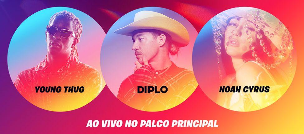 Diplo, Noah Cyrus e Young Thug farão show no modo Festa Royale de Fortnite