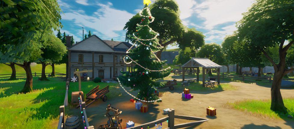 Localização das Árvores Festivas em Fortnite