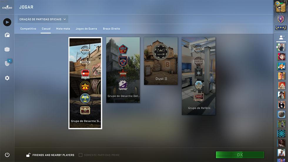 Nova tela de seleção de mapas CS GO