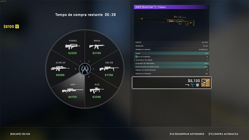 Nova tela de compra de armas CS GO