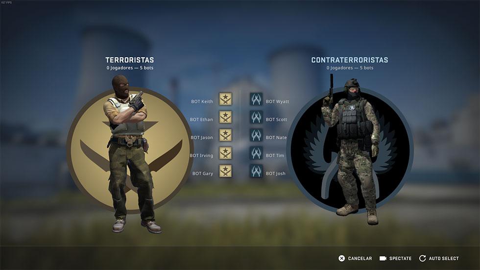 Nova tela de seleção de equipes CS GO