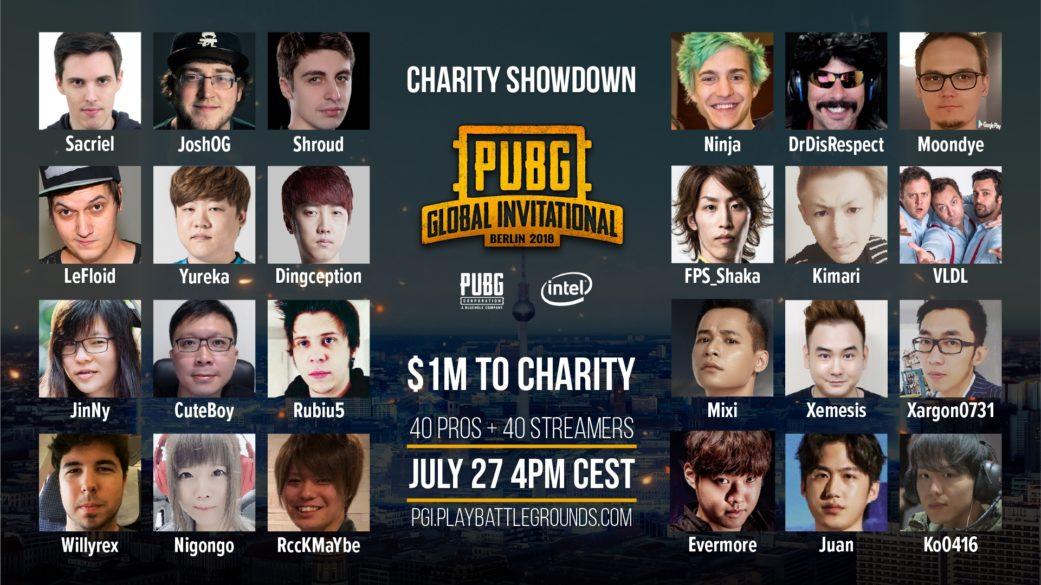 Participantes da PUBG Charity Showdown (Imagem: PUBG Corp)