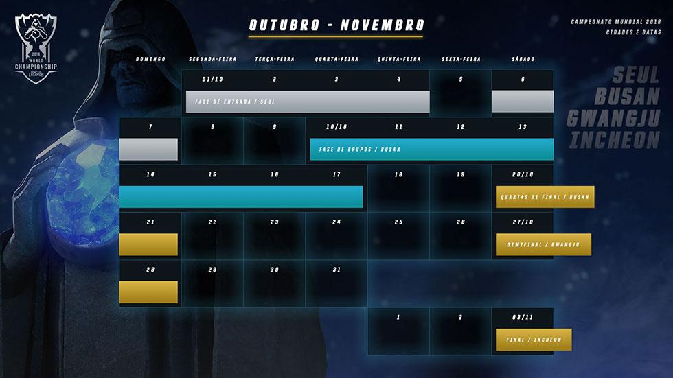 Calendário oficial do Mundial (Imagem: Riot Games)