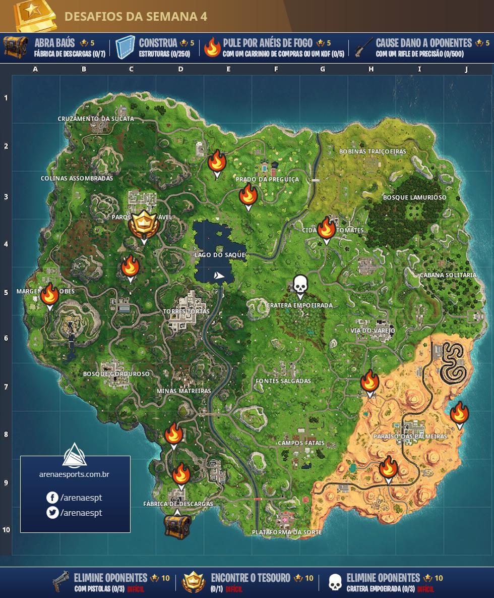 Mapa dos desafios semanais 4 (Imagem: Montagem)