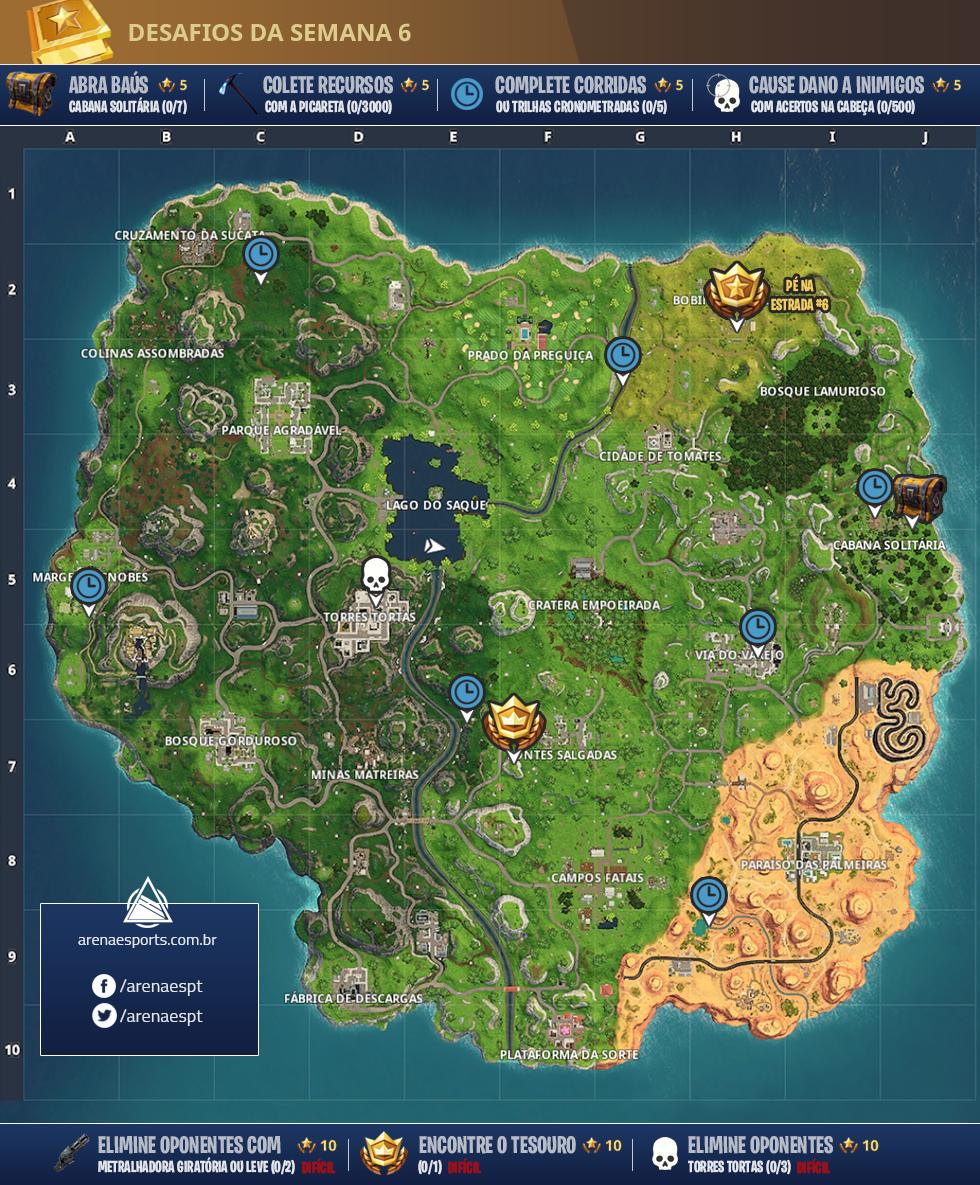 Mapa dos desafios da semana 6 da Temporada 5 de Fortnite