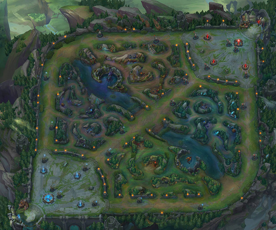 Mapa de League of Legends (Imagem: League of Legends/Riot Games)