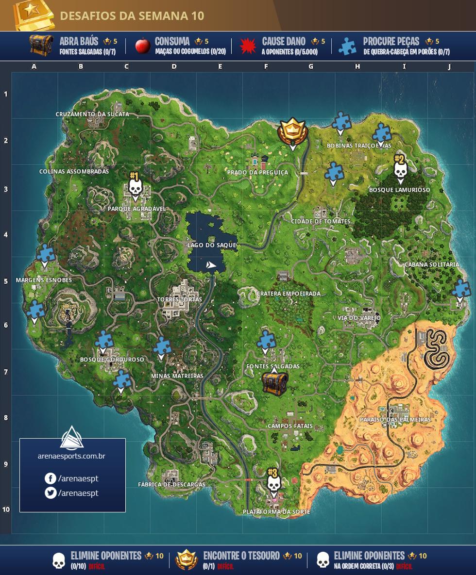 Mapa dos desafios da semana 10 da Temporada 5 de Fortnite