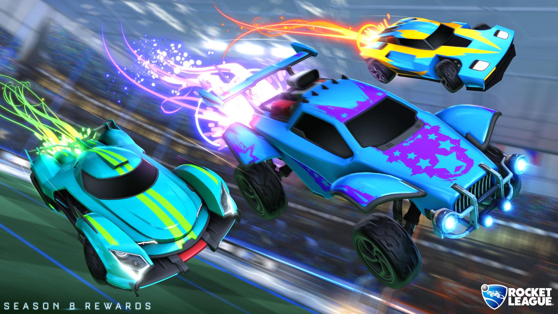 Recompensas de Rocket Boost da esquerda para a direita: Prata, Champion e Ouro (Imagem: Rocket League)