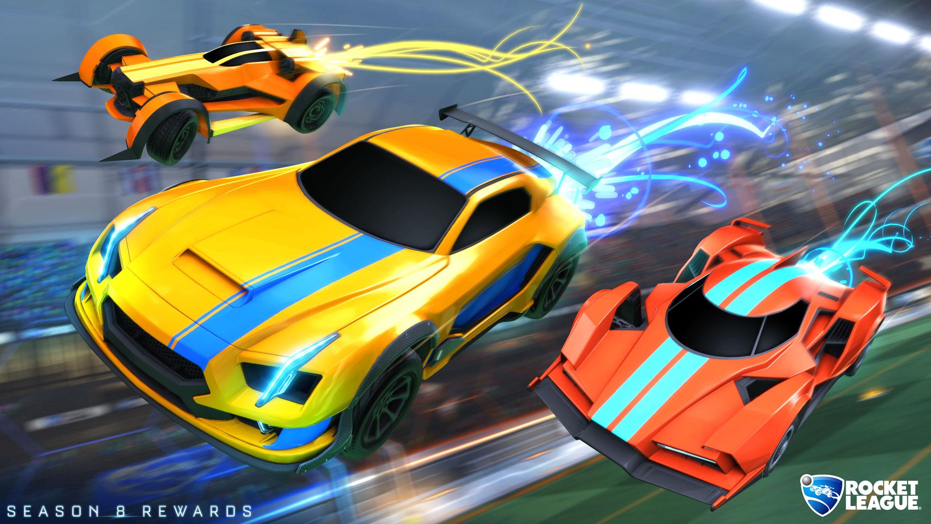 Recompensas de Rocket Boost da esquerda para a direita: Bronze, Diamante e Platina (Imagem: Rocket League)