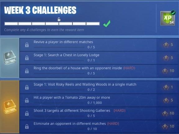 Lista de desafios da semana 3 da temporada 6 de Fortnite (Imagem: twitter/crossleak)