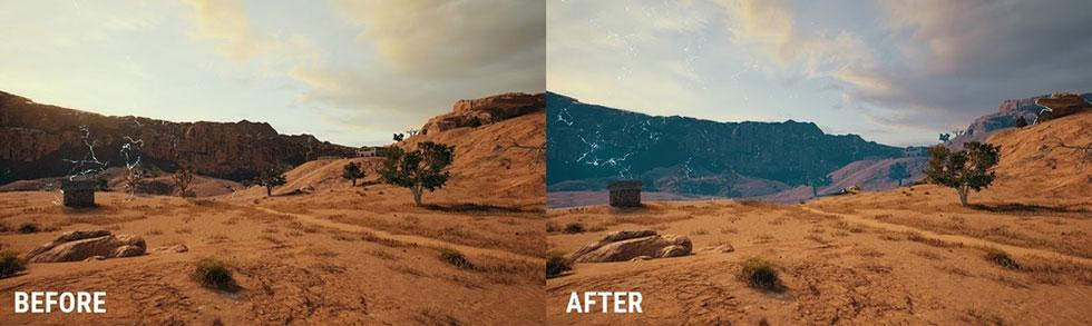 Antes e depois das mudanças na BlueZone no mapa Miramar ( Imagem: PUBG Corp)