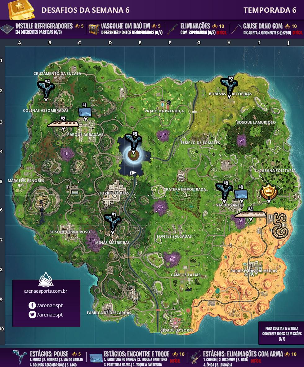 Mapa dos Desafios da Semana 6 da Temporada 6 de Fortnite