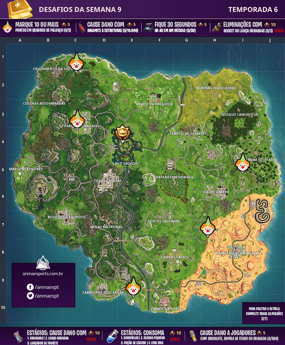 Mapa dos desafios da Semana 9 da Temporada 6 de Fortnite