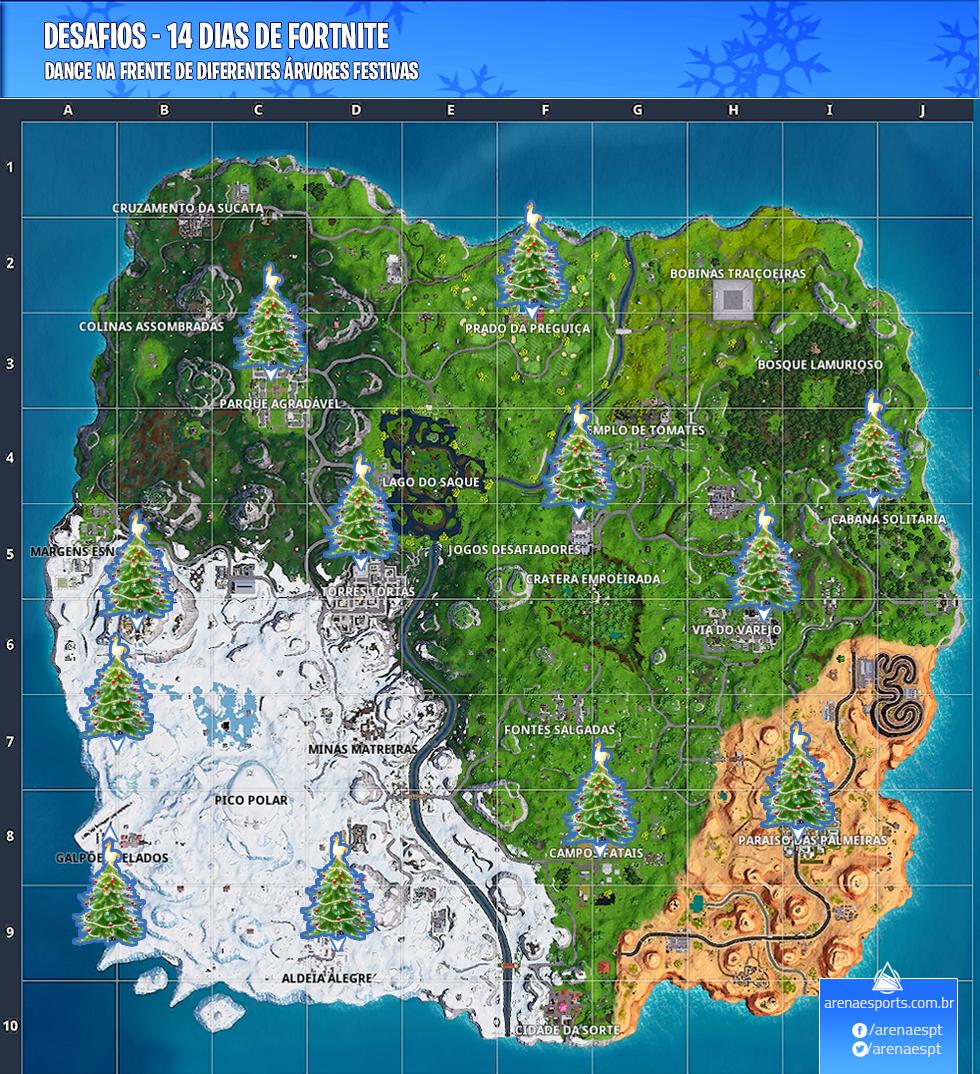 Localização das Árvores Festivas no Fortnite