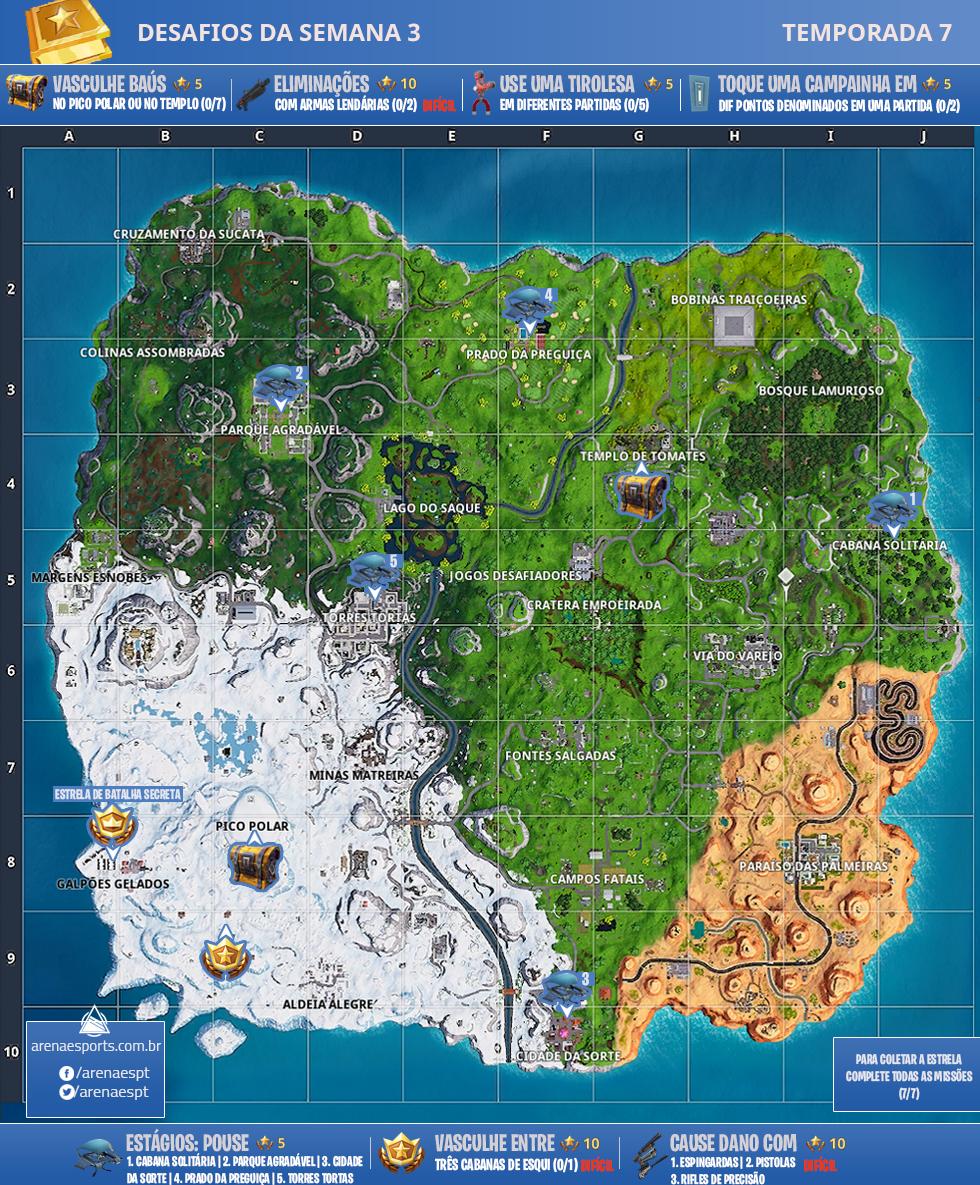 Mapa dos desafios da Semana 2 da Temporada 7 de Fortnite