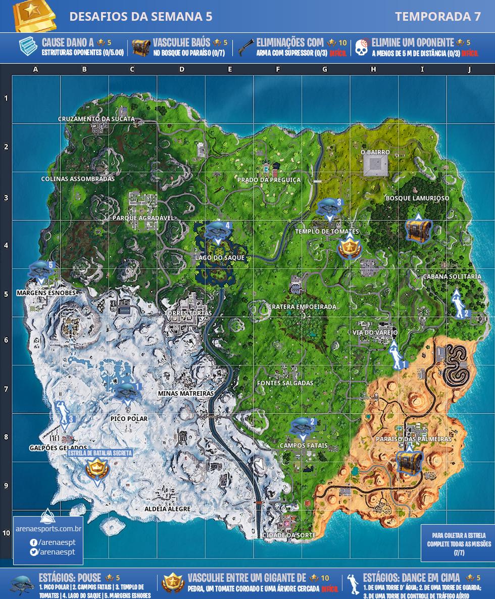 Mapa dos desafios da Semana 5 da Temporada 7 de Fortnite