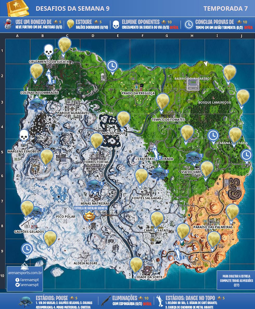 Mapa dos desafios da Semana 9 da Temporada 7 de Fortnite