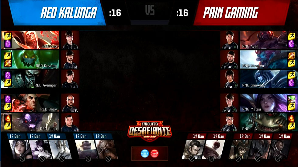 Picks e bans da partida (Imagem: LoLeSportsBR)