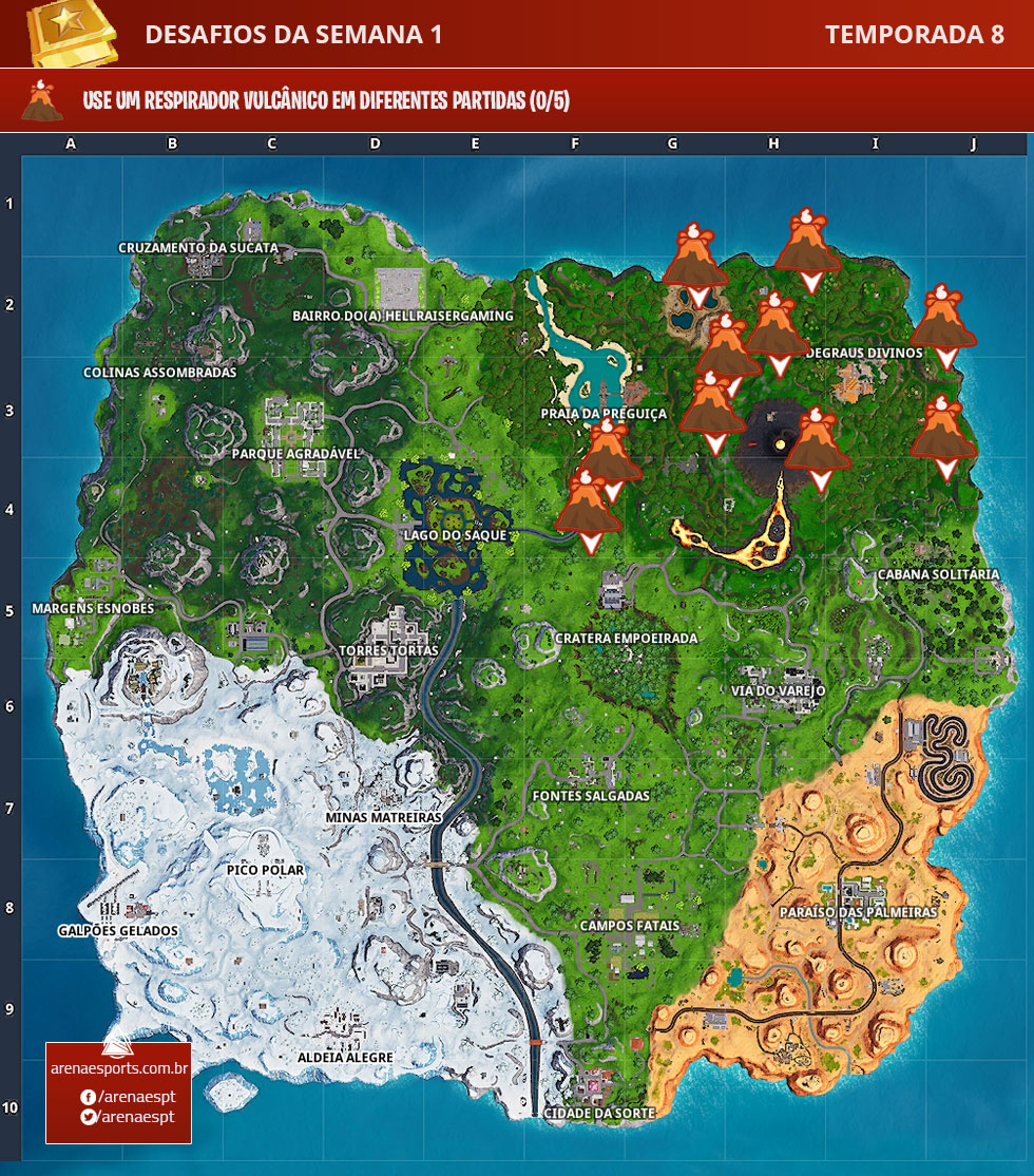 Localização dos Respiradouros Vulcânicos no Fortnite