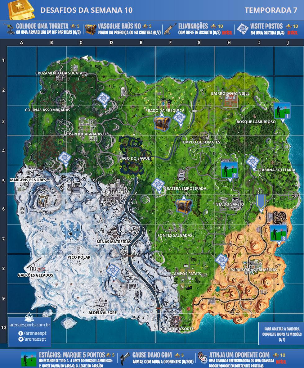 Mapa dos desafios da Semana 10 da Temporada 7 de Fortnite