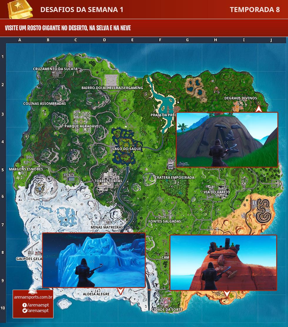 Mapa de Fortnite com o Rosto Gigante do deserto, da selva e da neve