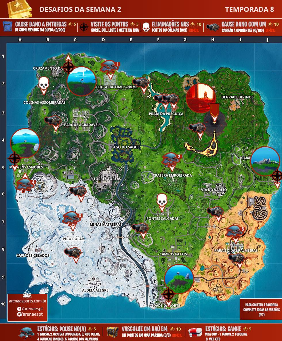 Mapa dos desafios da Semana 2 da Temporada 8 de Fortnite