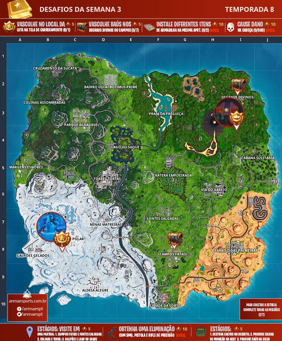 Mapa dos desafios da Semana 3 da Temporada 8 de Fortnite