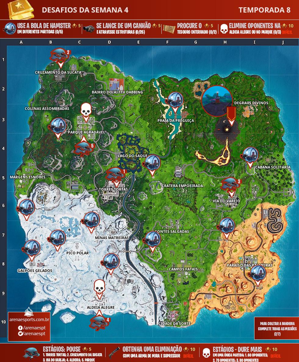Mapa dos desafios da Semana 4 da Temporada 8 de Fortnite