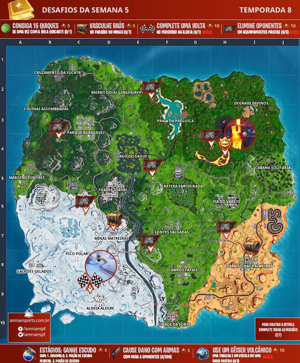Mapa dos desafios da Semana 5 da Temporada 8 de Fortnite