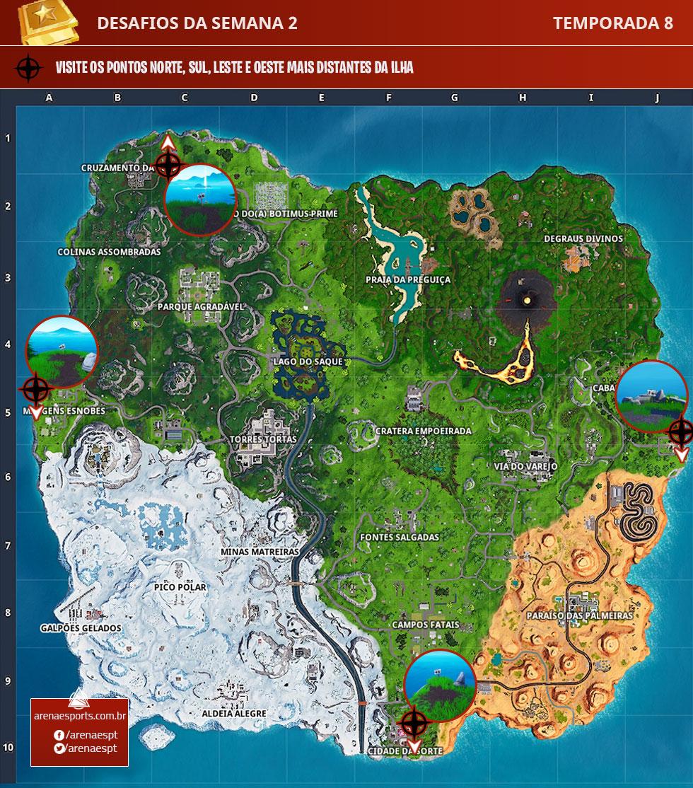 Visite os pontos norte, sul, leste e oeste mais distantes da ilha de Fortnite