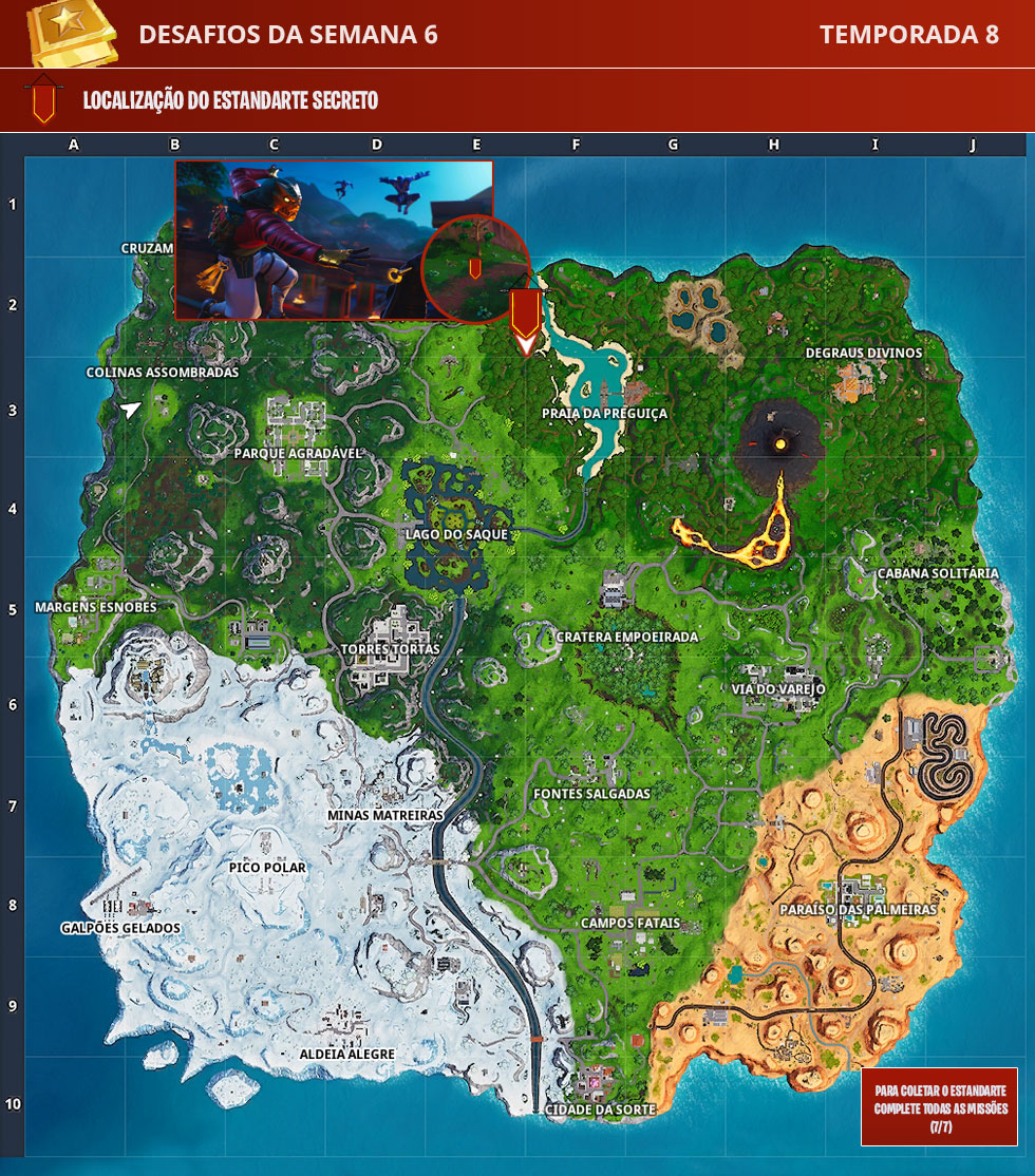 Localização do Estandarte Secreto da Semana 6 da Temporada 8 de Fortnite